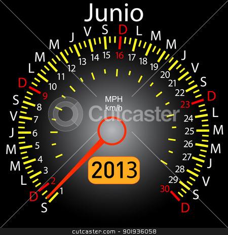2013 year calendar speedometer car in Spanish. June stock photo, 2013 year calendar speedometer car in Spanish. June by aarrows