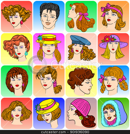 Set of various cartoon male and female faces. stock photo, Set of various cartoon male and female faces,  illustration by aarrows