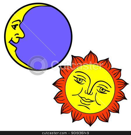 illustration of Moon and Sun with faces  stock photo,  illustration of Moon and Sun with faces  by aarrows