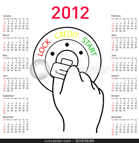 2012 year alendar  stock photo, 2012 year alendar car key in the ignition ready for the start of the loan. In .  by aarrows