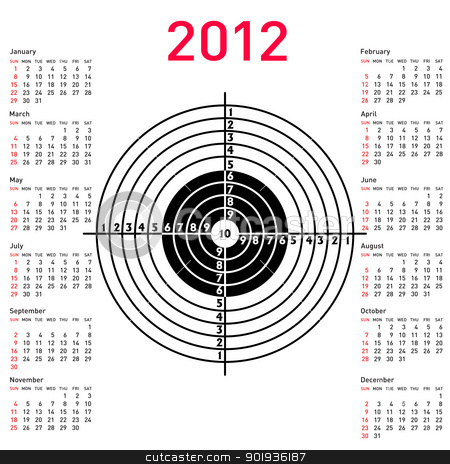 calendar with target for shooting practice at a shooting range w stock photo, calendar with target for shooting practice at a shooting range with a pistol for 2012. Week starts on Sunday. by aarrows