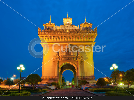 Patuxai Monument, Vientiane, Laos. stock photo, Patuxai arch monument, Vientiane, the Capital of Laos, in the night. by Pablo Caridad