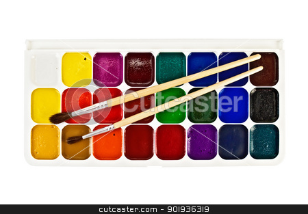 Paint the box stock photo, Paintbox twenty four colors and two brushes isolated on white background by rezkrr