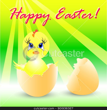 easter holiday illustration with chicken stock photo, easter holiday illustration with chicken, isolated on white background by aarrows
