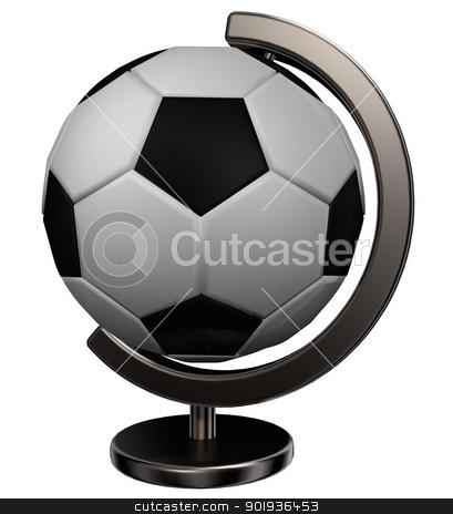 soccer globe stock photo, soccer globe on white background - 3d illustration by J?