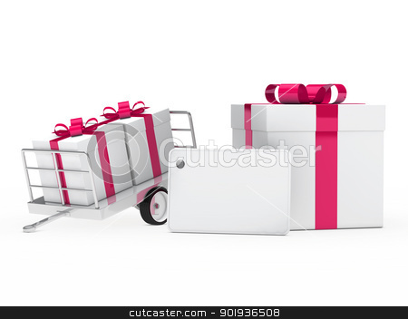 gift boxes pink ribbon stock photo, christmas white gift box pink ribbon signboard by d3images