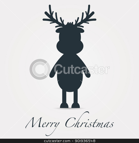 reindeer silhouette black merry christmas text stock photo, rudolph reindeer silhouette black merry christmas text by d3images