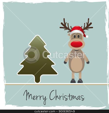 reindeer red nose santa claus hat stock photo, rudolph reindeer red nose santa claus hat by d3images