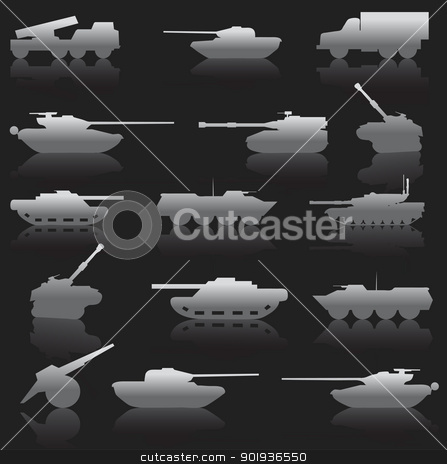 Collection set of tanks of guns  stock photo, Collection set of tanks of guns and military technology by aarrows
