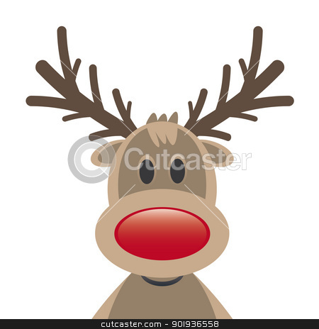 reindeer red nose on white background stock photo, rudolph reindeer red nose on white background by d3images
