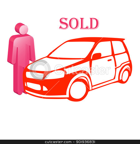 The car is sold stock photo, The car and icon of the person selling it by aarrows