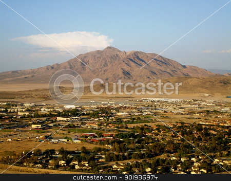 Fort Irwin Army Base - with mountain background stock photo,                                 by Liane Harrold