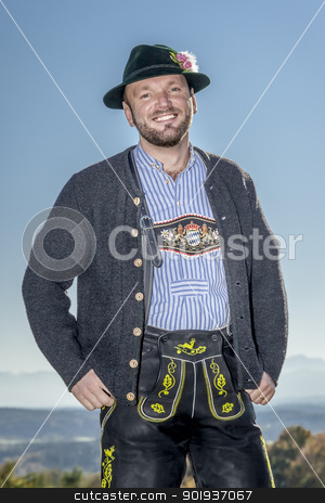 Bavarian tradition stock photo, A traditional bavarian man in the autumn nature by Markus Gann