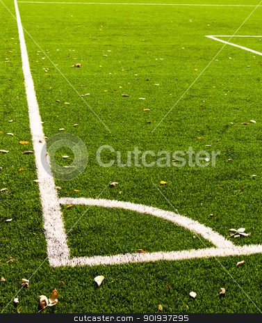 Football field stock photo, Football (soccer) field corner with white line corner by Imaster