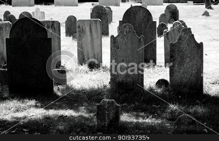 Old Cemetary stock photo, Very old 18th century grave yard in black and white by Cora Reed