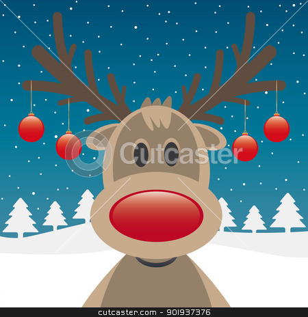 reindeer red nose and christmas balls stock photo, rudolph reindeer red nose and christmas balls by d3images