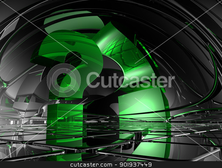question mark stock photo, question mark in abstract futuristic space - 3d illustration by J?