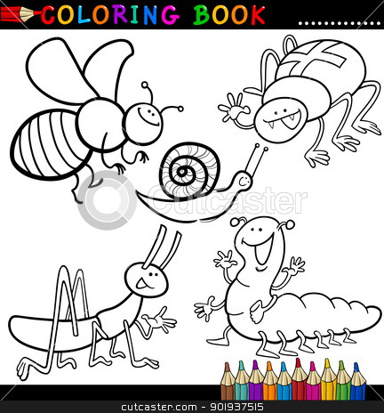 Insects and bugs for Coloring Book or Page stock vector clipart, Coloring Book or Page Cartoon Illustration of Funny Insects and Bugs for Children by Igor Zakowski