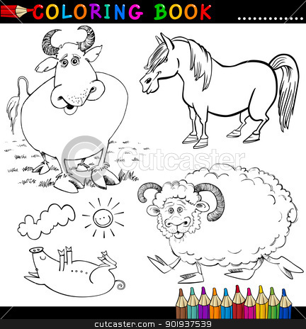Farm Animals for Coloring Book or Page stock vector clipart, Coloring Book or Page Cartoon Illustration of Funny Farm and Livestock Animals for Children by Igor Zakowski