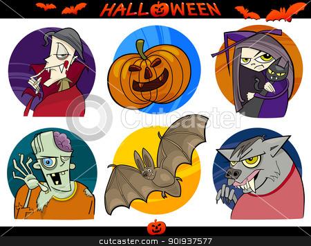 Halloween Cartoon Themes Set stock vector clipart, Cartoon Illustration of Halloween Themes, Vampire, Zombie, Witch, Werewolf, Pumpkin and Bat Funny Set by Igor Zakowski