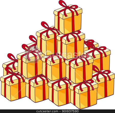 heap of christmas presents stock vector clipart, Cartoon Illustration of Heap of Many Christmas Presents or Gifts by Igor Zakowski