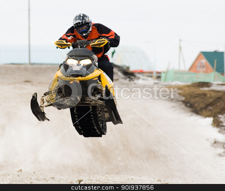 Snow mobile jump stock photo, Competition of snow mobile riders in Tyumen. Siberia. Russia by Aikon
