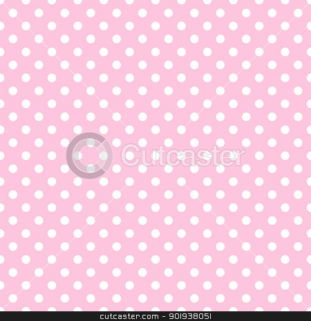 White Polka Dots on Pale Pink stock photo, White polkadots on baby pink background by SongPixels