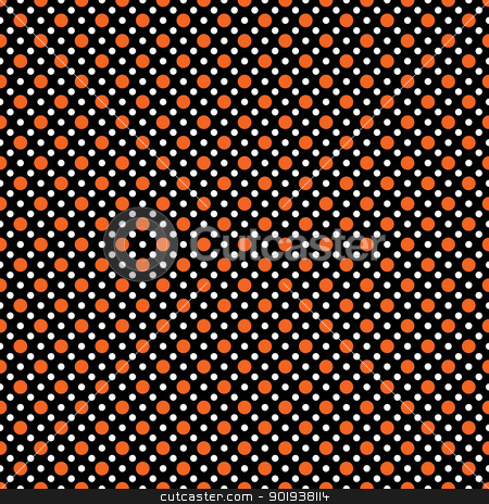 Seamless Polka Dot Pattern stock photo, Two sizes of orange and white polka dots on black background by SongPixels