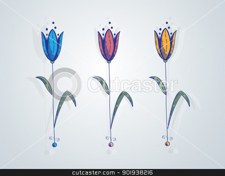 Decorative floral card stock vector clipart, Abstract floral card with colored tulips by Richard Laschon
