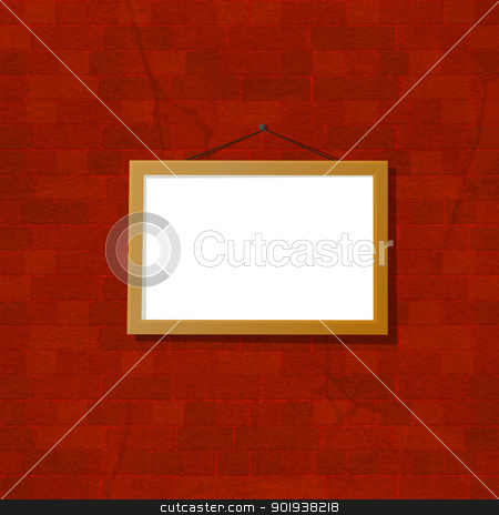 Frame on the wall stock vector clipart, Grunge illustration of an empty frame over a brick wall by Richard Laschon