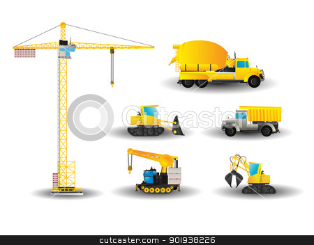 Construction vehicles set stock vector clipart, Cartoon style drawing of construction vehicles by Richard Laschon
