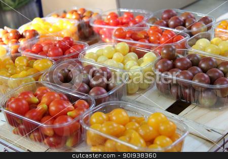 Cherry tomatoes at a French market stock photo, Cherry tomatoes in various colors at a French market by Porto Sabbia