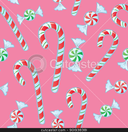 Seamless Candy Cane And Mints stock vector clipart, A seamless pattern of candy canes and mint candies wrapped in cellophane. by Jamie Slavy