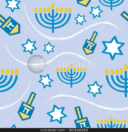Seamless Hanukkah Pattern stock vector clipart, A seamless Hanukkah pattern using classic Hanukkah symbols. by Jamie Slavy