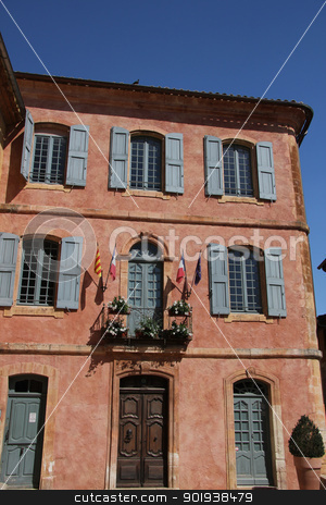 The town hall in Roussillon, Provence stock photo, Ochre facade of The town hall in Roussillon, Provence by Porto Sabbia