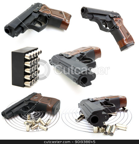 Set of pistol  stock photo, Set of The close up of a pistol a target and cartridges is isolated on a white background by aarrows