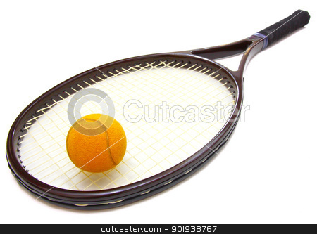 A tennis ball and racket on a white background stock photo, A tennis ball and racket on a white background by aarrows