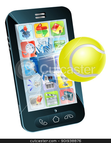 Tennis ball flying out of mobile phone stock vector clipart, Illustration of a tennis ball flying out of a broken mobile phone screen by Christos Georghiou