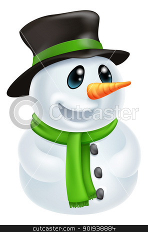 Cartoon Christmas Snowman stock vector clipart, Happy cute cartoon Christmas Snowman character with hat and green scarf by Christos Georghiou
