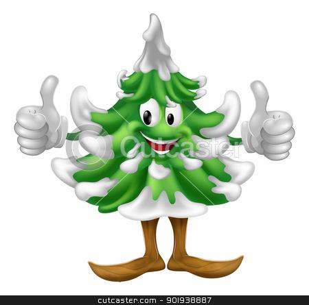 Christmas tree cartoon man stock vector clipart, A happy Christmas tree cartoon mascot giving a thumbs up by Christos Georghiou