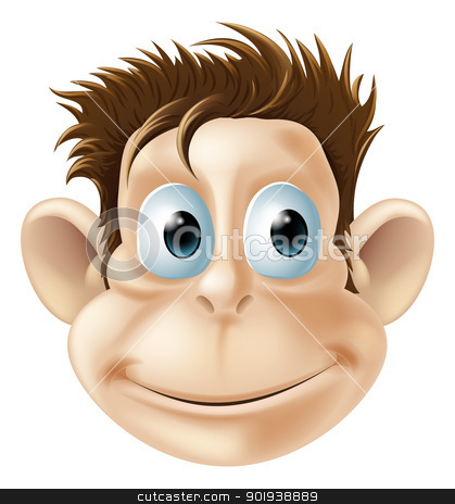 Smiling monkey illustration stock vector clipart, An illustration of a cute smiling monkey face by Christos Georghiou