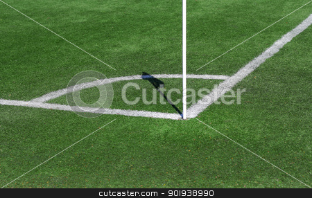 Conner of Football/Soccer field with flag stock photo, Conner of Football/Soccer field with flag  by aarrows