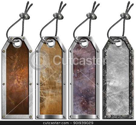 Set of Grunge Metal Tags - 4 items stock photo, Four empty grunge metallic tags with steel cable and metal rivets  by catalby