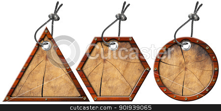 Set of Metal and Wood Tags - 3 Items stock photo, Three wooden and metallic empty tags with steel cable    by catalby