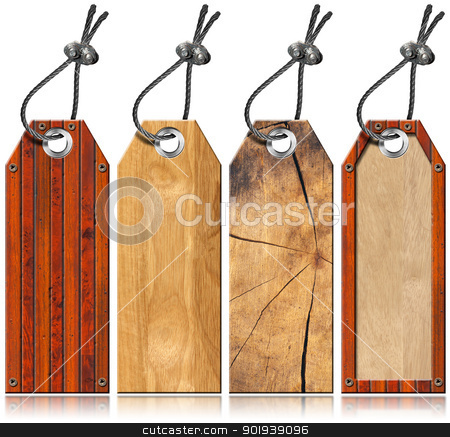 Set of Wooden Tags - 4 items stock photo, Four empty wooden tags with steel cable and metal rivets  by catalby
