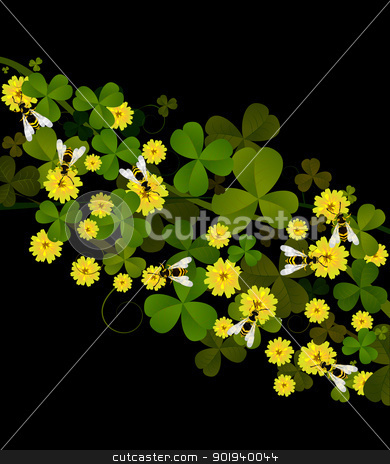 Wasps and sweet clover stock vector clipart, German wasps and yellow melilot, sweet clover over black background. by Richard Laschon