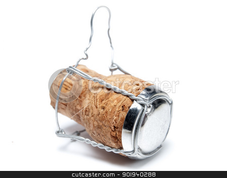 Champagne cork stock photo, Champagne cork on a white background. by Sinisa Botas
