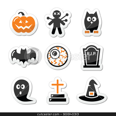 Halloween black icons set as labels  stock vector clipart, Labels set for hallowen party - pumpkin, witch, ghost by Agnieszka Murphy