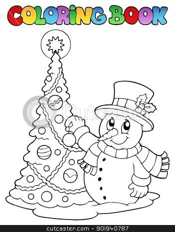 Coloring book Christmas thematics 1 stock vector clipart, Coloring book Christmas thematics 1 - vector illustration. by Klara Viskova