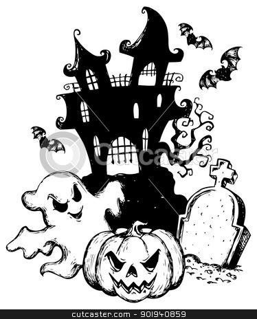 Halloween Theme Drawing 1 Stock Vector